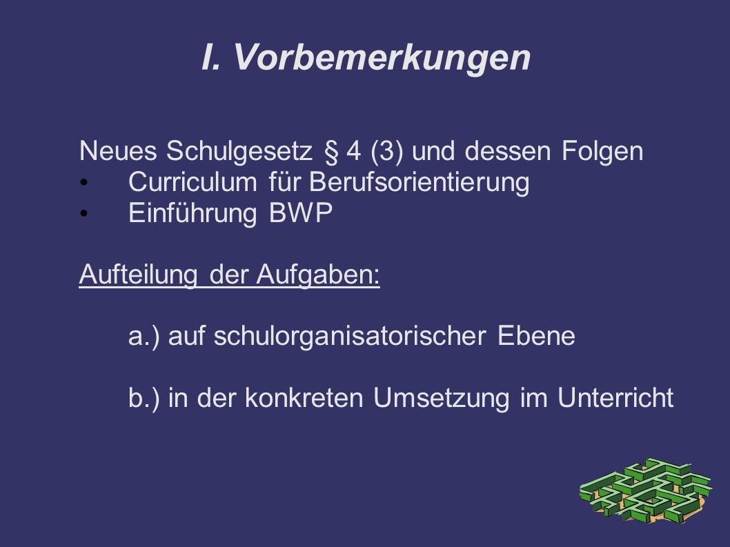 I. Vorbemerkungen Neues Schulgesetz § 4 (3) und dessen Folgen Curriculum für Berufsorientierung Einführung BWP Aufteilung der Aufgaben: a.) auf schulo