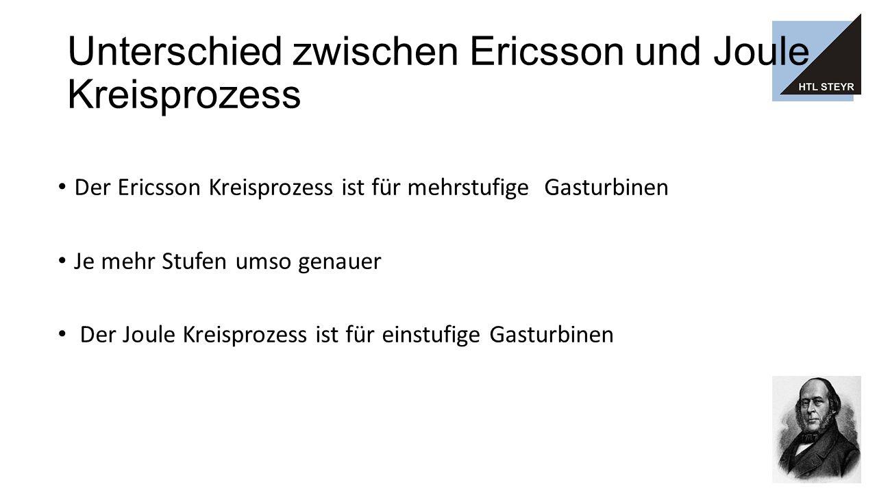 Unterschied zwischen Ericsson und Joule Kreisprozess Der Ericsson Kreisprozess ist für mehrstufige Gasturbinen Je mehr Stufen umso genauer Der Joule Kreisprozess ist für einstufige Gasturbinen