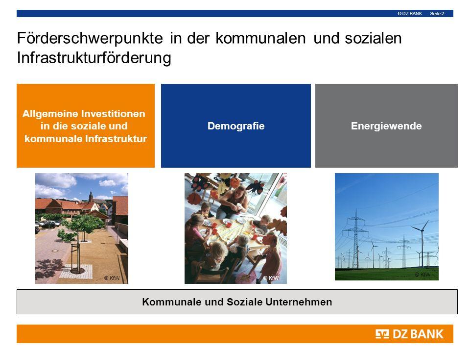 © DZ BANK Seite 2 DemografieEnergiewende Förderschwerpunkte in der kommunalen und sozialen Infrastrukturförderung Allgemeine Investitionen in die sozi