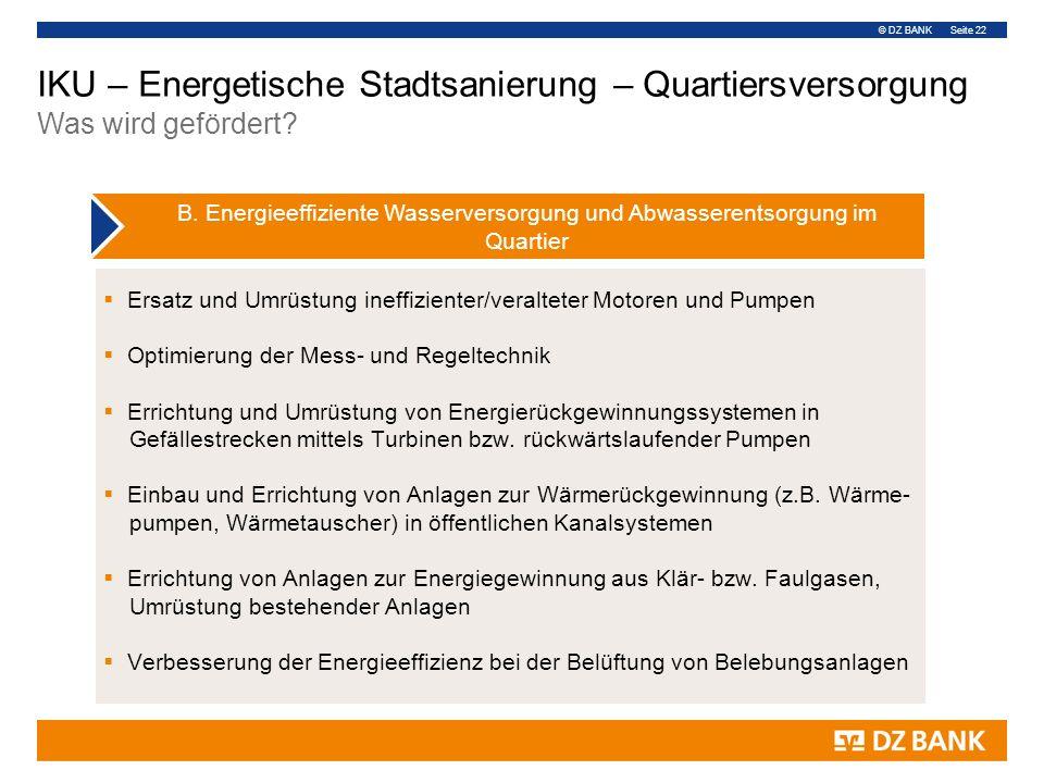 © DZ BANK Seite 22  Ersatz und Umrüstung ineffizienter/veralteter Motoren und Pumpen  Optimierung der Mess- und Regeltechnik  Errichtung und Umrüstung von Energierückgewinnungssystemen in Gefällestrecken mittels Turbinen bzw.