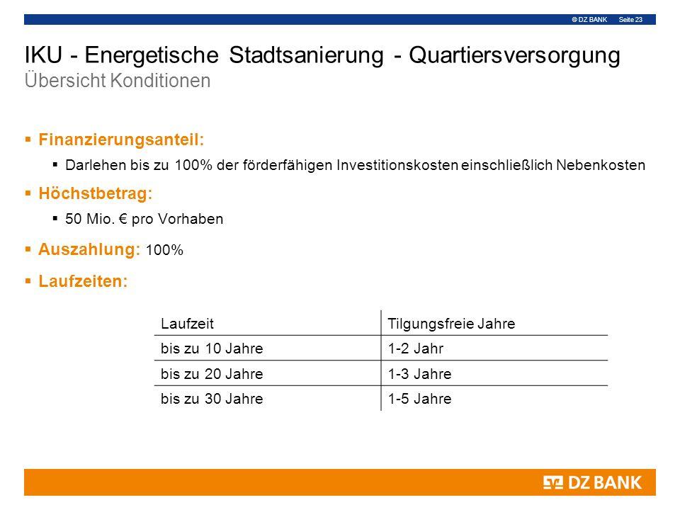 © DZ BANK Seite 23 IKU - Energetische Stadtsanierung - Quartiersversorgung Übersicht Konditionen  Finanzierungsanteil:  Darlehen bis zu 100% der för