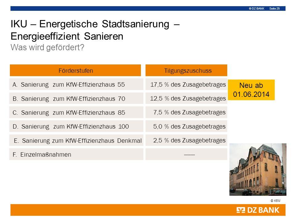 © DZ BANK Seite 25 Förderstufen 7,5 % des Zusagebetrages 2,5 % des Zusagebetrages 12,5 % des Zusagebetrages A. Sanierung zum KfW-Effizienzhaus 55 C. S