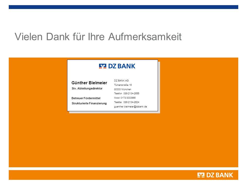 Ansprechpartner Günther Bielmeier Stv. Abteilungsdirektor Betreuer Fördermittel Strukturierte Finanzierung DZ BANK AG Türkenstraße 16 80333 München Te