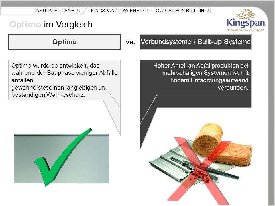 KINGSPAN / LOW ENERGY - LOW CARBON BUILDINGSINSULATED PANELS Optimo im Vergleich Optimo ist ein selbsttragendes Einkompononentenbauteil mit hoher Trag