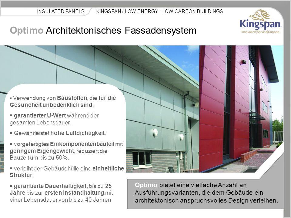 KINGSPAN / LOW ENERGY - LOW CARBON BUILDINGSINSULATED PANELS Kingspan hat für Architekten und Planer vier wesentliche Optimo Versionen entwickelt.