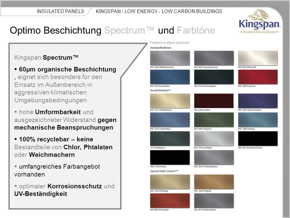 Produkt Bezeichnung Normale Umgebungs- bedingungen Temperierte Räume HygieneHohe Luftfeuchte niedrig temperierte Gebäude Brandschutz- Zertifikate Enhanced Acoustics Sanierung Kingspan Optimo LPCB / FM KINGSPAN / LOW ENERGY - LOW CARBON BUILDINGSINSULATED PANELS Optimo Produktdaten 600 mm 900 mm 1000 mm  Baubreiten von 600 mm bis 1000 mm möglich  Elementlängen von 2.0 bis 6.0m verfügbar  Optimo Wand- und Fassadensysteme werden verdeckt befestigt und können sowohl horizontal als auch vertikal verlegt werden.