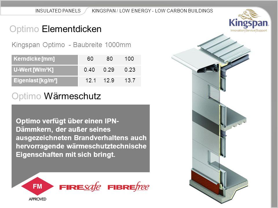 KINGSPAN / LOW ENERGY - LOW CARBON BUILDINGSINSULATED PANELS Optimo Elementdicken Kerndicke [mm] U-Wert [W/m²K] Eigenlast [kg/m²] 60 80 100 0.40 0.29 0.23 12.1 12.9 13.7 Kingspan Optimo - Baubreite 1000mm Optimo Wärmeschutz Optimo verfügt über einen IPN- Dämmkern, der außer seines ausgezeichneten Brandverhaltens auch hervorragende wärmeschutztechnische Eigenschaften mit sich bringt.