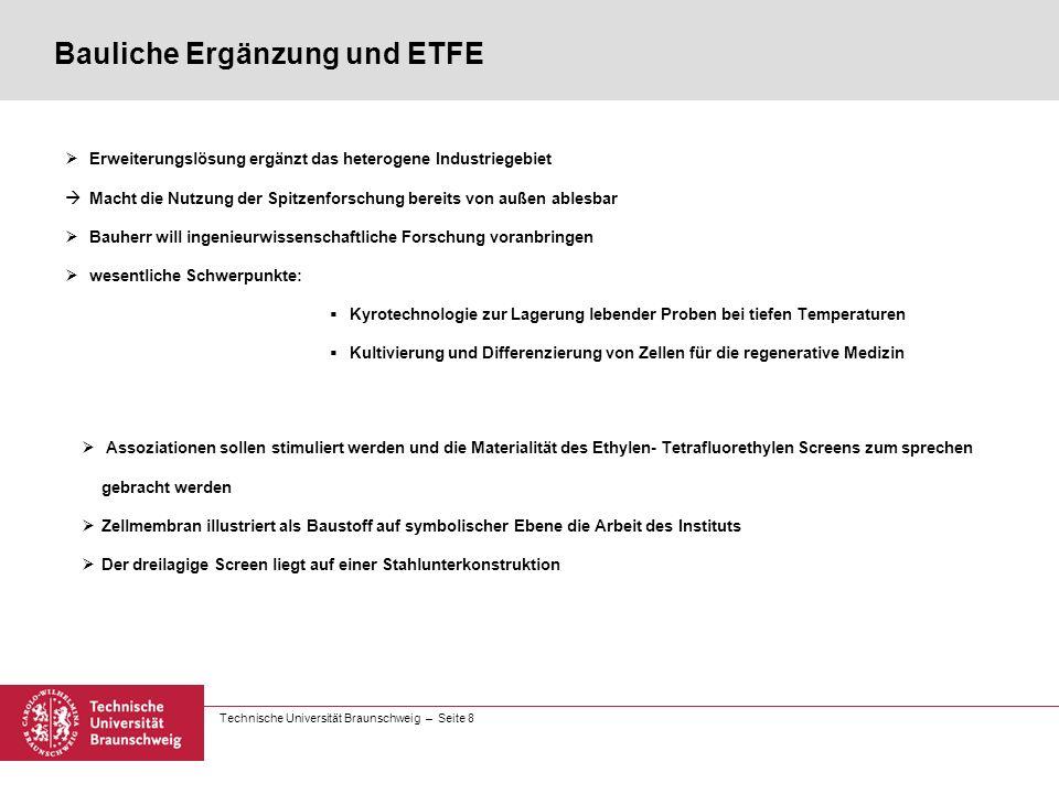 Technische Universität Braunschweig – Seite 8 Bauliche Ergänzung und ETFE  Erweiterungslösung ergänzt das heterogene Industriegebiet  Macht die Nutz