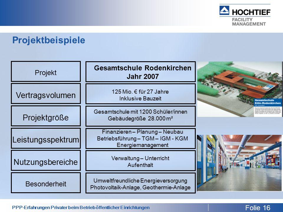 PPP-Erfahrungen Privater beim Betrieb öffentlicher Einrichtungen Projektbeispiele Folie 16 Projekt Vertragsvolumen Projektgröße Leistungsspektrum Nutzungsbereiche Besonderheit Gesamtschule Rodenkirchen Jahr 2007 125 Mio.