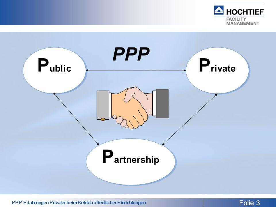 PPP-Erfahrungen Privater beim Betrieb öffentlicher Einrichtungen P ublic P rivate P artnership PPP Folie 3