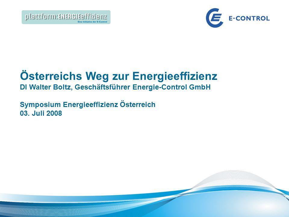 Energieeffizienz Speakers Corner | Best Practice: Energieeffizienz in großen Gebäuden Österreichs Weg zur Energieeffizienz DI Walter Boltz, Geschäftsführer Energie-Control GmbH Symposium Energieeffizienz Österreich 03.