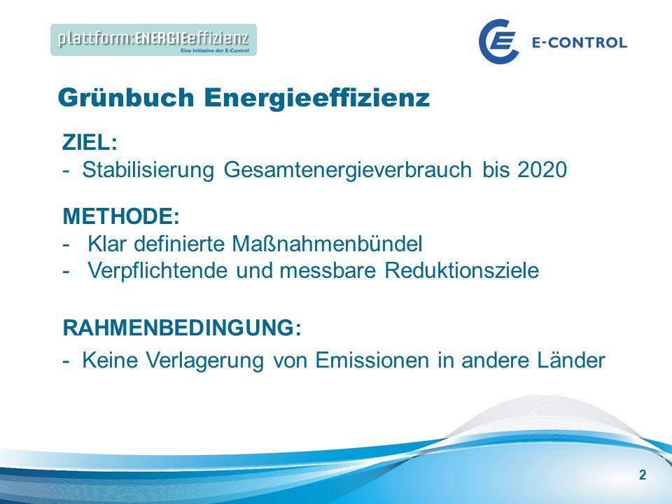 Energieeffizienz Speakers Corner | Best Practice: Energieeffizienz in großen Gebäuden Grünbuch Energieeffizienz ZIEL: - Stabilisierung Gesamtenergieverbrauch bis 2020 METHODE: -Klar definierte Maßnahmenbündel -Verpflichtende und messbare Reduktionsziele RAHMENBEDINGUNG: - Keine Verlagerung von Emissionen in andere Länder 2