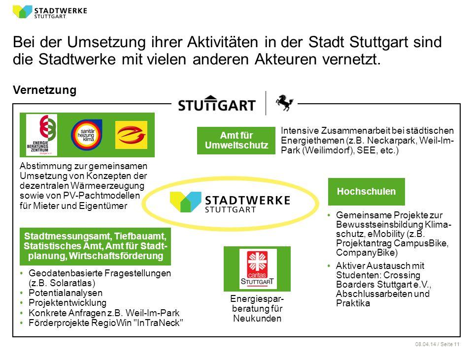 08.04.14 / Seite 11 Bei der Umsetzung ihrer Aktivitäten in der Stadt Stuttgart sind die Stadtwerke mit vielen anderen Akteuren vernetzt. Vernetzung Ge