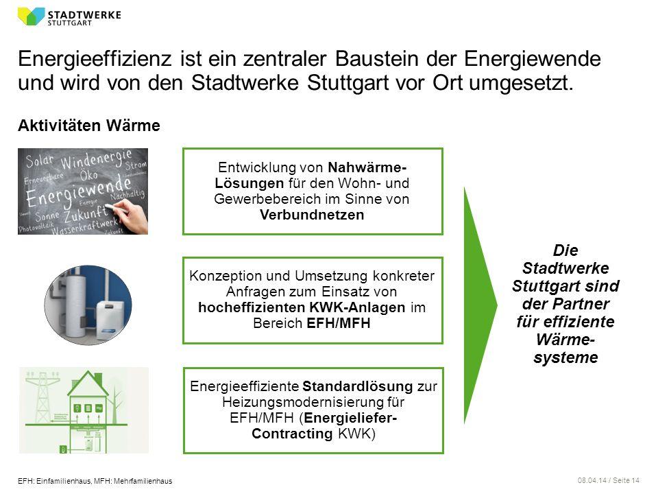 08.04.14 / Seite 14 Energieeffizienz ist ein zentraler Baustein der Energiewende und wird von den Stadtwerke Stuttgart vor Ort umgesetzt. Aktivitäten