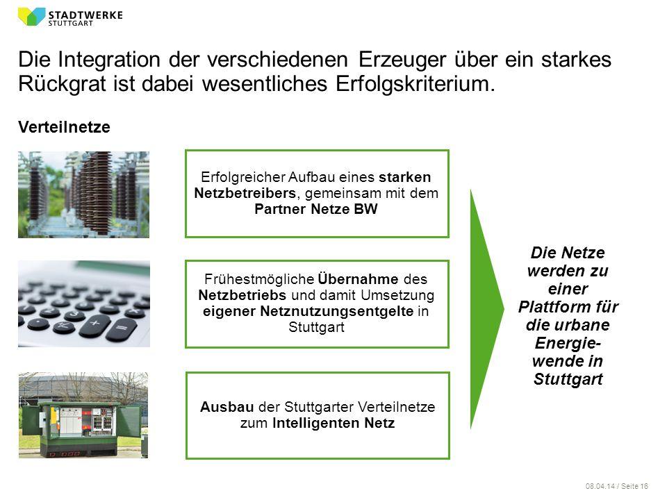 08.04.14 / Seite 16 Die Integration der verschiedenen Erzeuger über ein starkes Rückgrat ist dabei wesentliches Erfolgskriterium. Verteilnetze Erfolgr