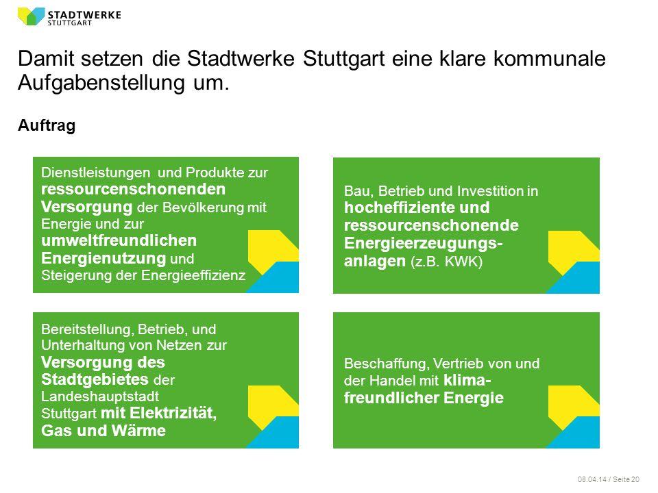08.04.14 / Seite 20 Auftrag Damit setzen die Stadtwerke Stuttgart eine klare kommunale Aufgabenstellung um. Bereitstellung, Betrieb, und Unterhaltung