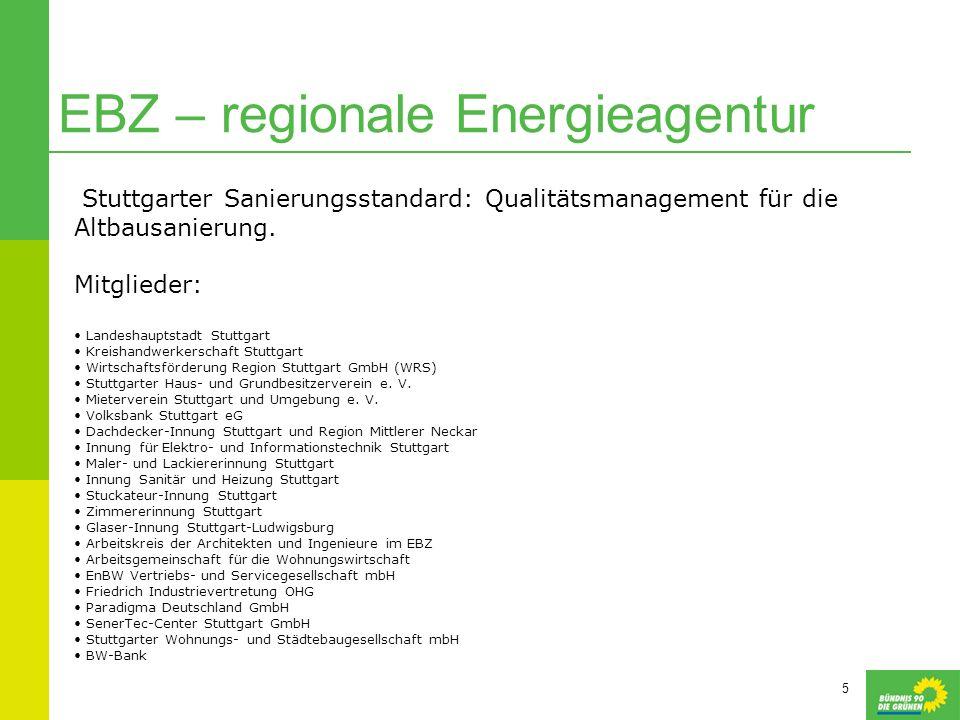 5 EBZ – regionale Energieagentur Stuttgarter Sanierungsstandard: Qualitätsmanagement für die Altbausanierung. Mitglieder: Landeshauptstadt Stuttgart K