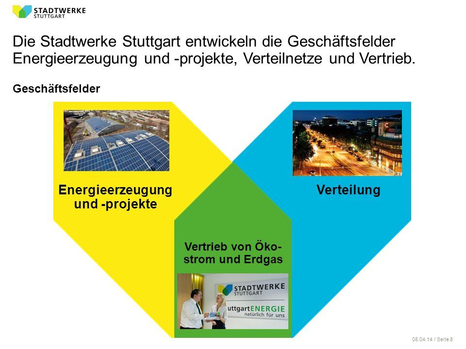 08.04.14 / Seite 8 Geschäftsfelder Die Stadtwerke Stuttgart entwickeln die Geschäftsfelder Energieerzeugung und -projekte, Verteilnetze und Vertrieb.