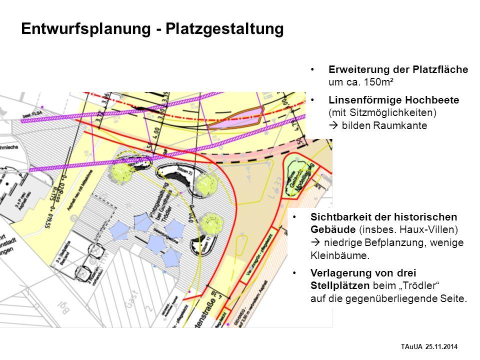 TAuUA 25.11.2014 Entwurfsplanung - Platzgestaltung Erweiterung der Platzfläche um ca.