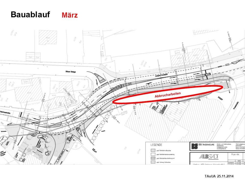 TAuUA 25.11.2014 Bauablauf Abbrucharbeiten März