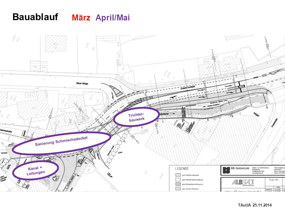 TAuUA 25.11.2014 Bauablauf März April/Mai Trichter- bauwerk Kanal + Leitungen Sanierung Schmiechadeckel