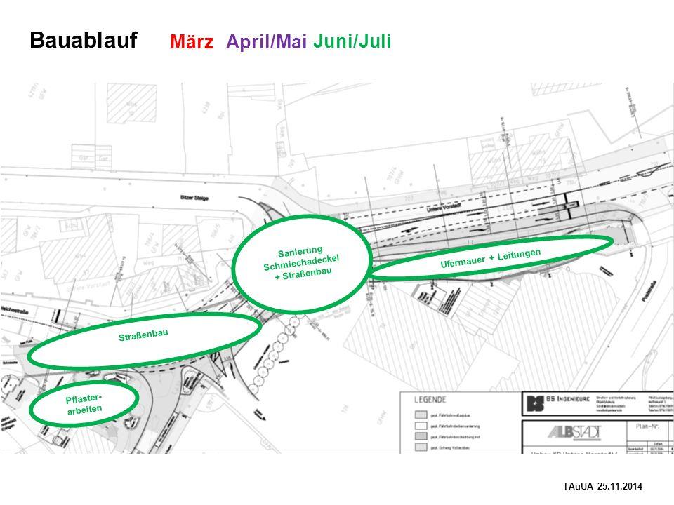 TAuUA 25.11.2014 Bauablauf Ufermauer + Leitungen März April/Mai Straßenbau Pflaster- arbeiten Juni/Juli Sanierung Schmiechadeckel + Straßenbau
