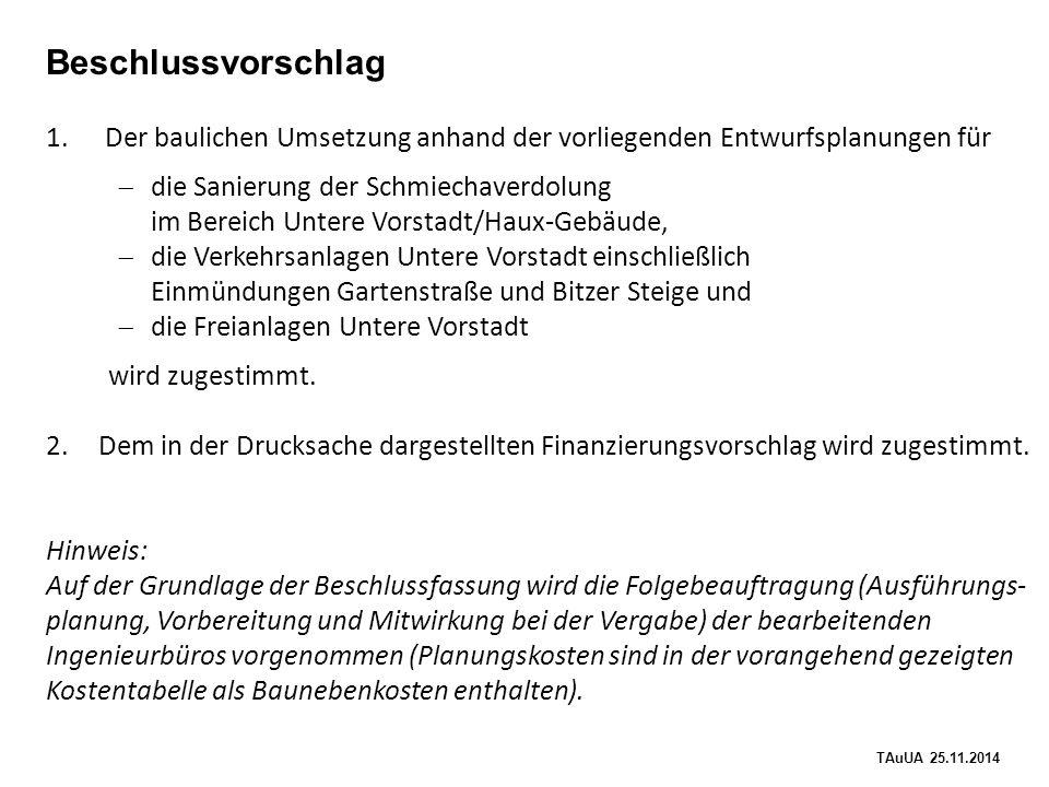 TAuUA 25.11.2014 Beschlussvorschlag 1.Der baulichen Umsetzung anhand der vorliegenden Entwurfsplanungen für  die Sanierung der Schmiechaverdolung im Bereich Untere Vorstadt/Haux-Gebäude,  die Verkehrsanlagen Untere Vorstadt einschließlich Einmündungen Gartenstraße und Bitzer Steige und  die Freianlagen Untere Vorstadt wird zugestimmt.