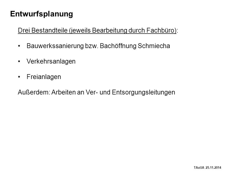 TAuUA 25.11.2014 Entwurfsplanung Drei Bestandteile (jeweils Bearbeitung durch Fachbüro): Bauwerkssanierung bzw.