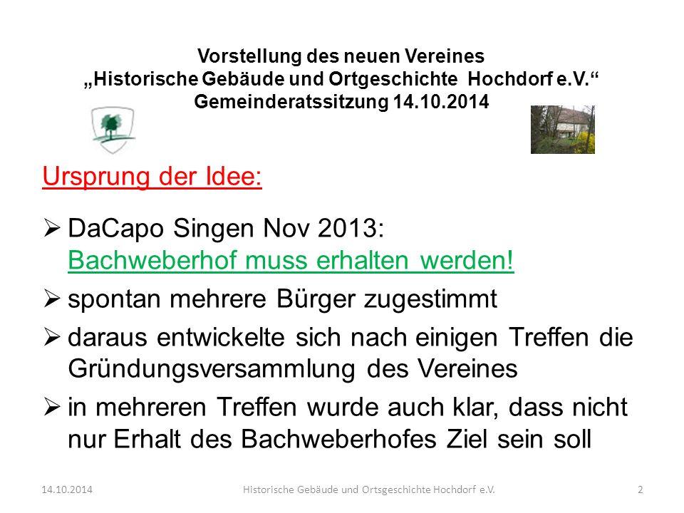 Ursprung der Idee:  DaCapo Singen Nov 2013: Bachweberhof muss erhalten werden!  spontan mehrere Bürger zugestimmt  daraus entwickelte sich nach ein