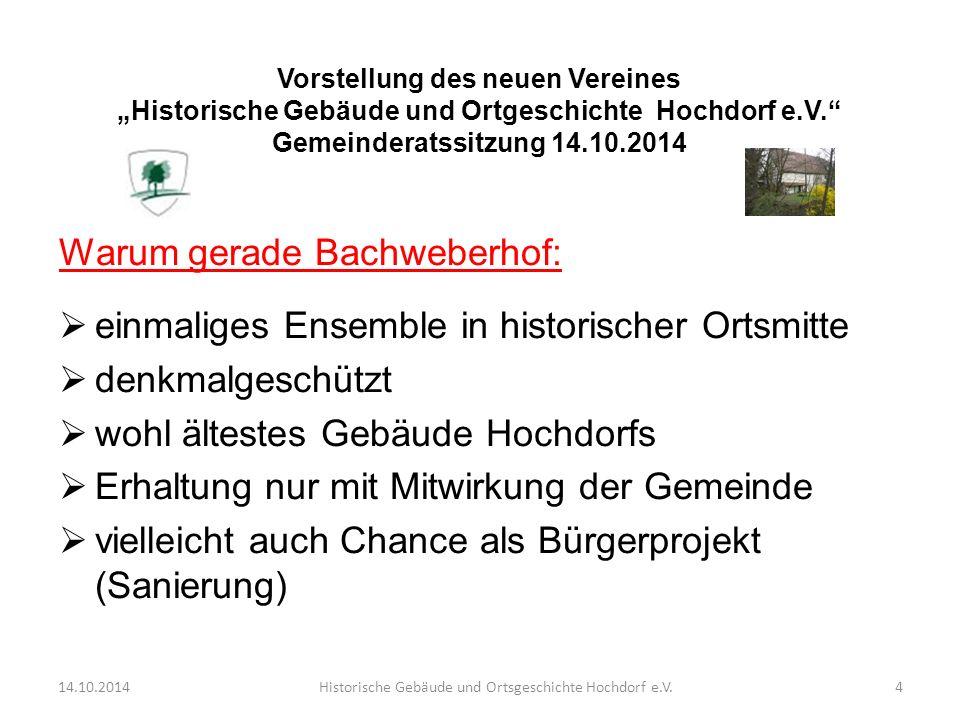 Warum gerade Bachweberhof:  einmaliges Ensemble in historischer Ortsmitte  denkmalgeschützt  wohl ältestes Gebäude Hochdorfs  Erhaltung nur mit Mi