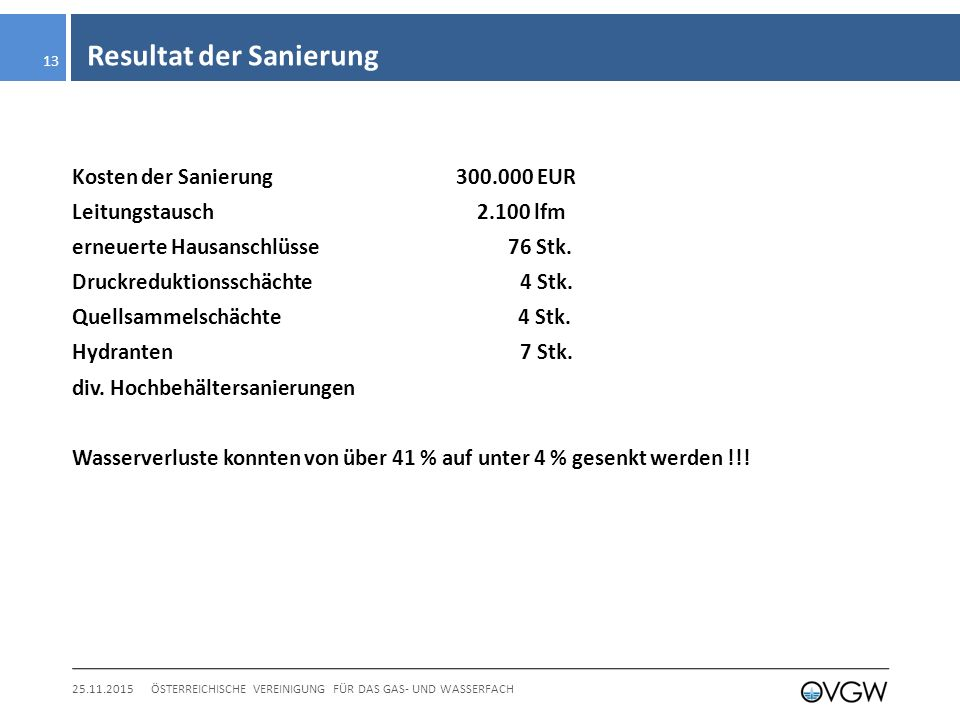 Resultat der Sanierung 25.11.2015ÖSTERREICHISCHE VEREINIGUNG FÜR DAS GAS- UND WASSERFACH 13 Kosten der Sanierung 300.000 EUR Leitungstausch 2.100 lfm erneuerte Hausanschlüsse 76 Stk.