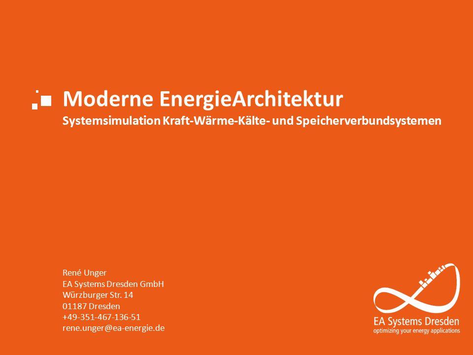 Moderne EnergieArchitektur Systemsimulation Kraft-Wärme-Kälte- und Speicherverbundsystemen René Unger EA Systems Dresden GmbH Würzburger Str.