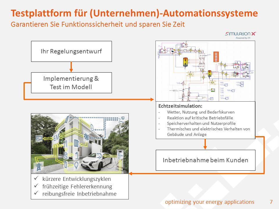 8optimizing your energy applications Mit Energiemonitoring Systemzusammenhänge im Blick Simulation vorab, Monitoring nach dem Bau, übersichtliche Darstellungen Entladung Eisspeicher Stromspeicherpotential Spektrogramm Leistung Wärmeverbrauch Brennstoffeinsatz