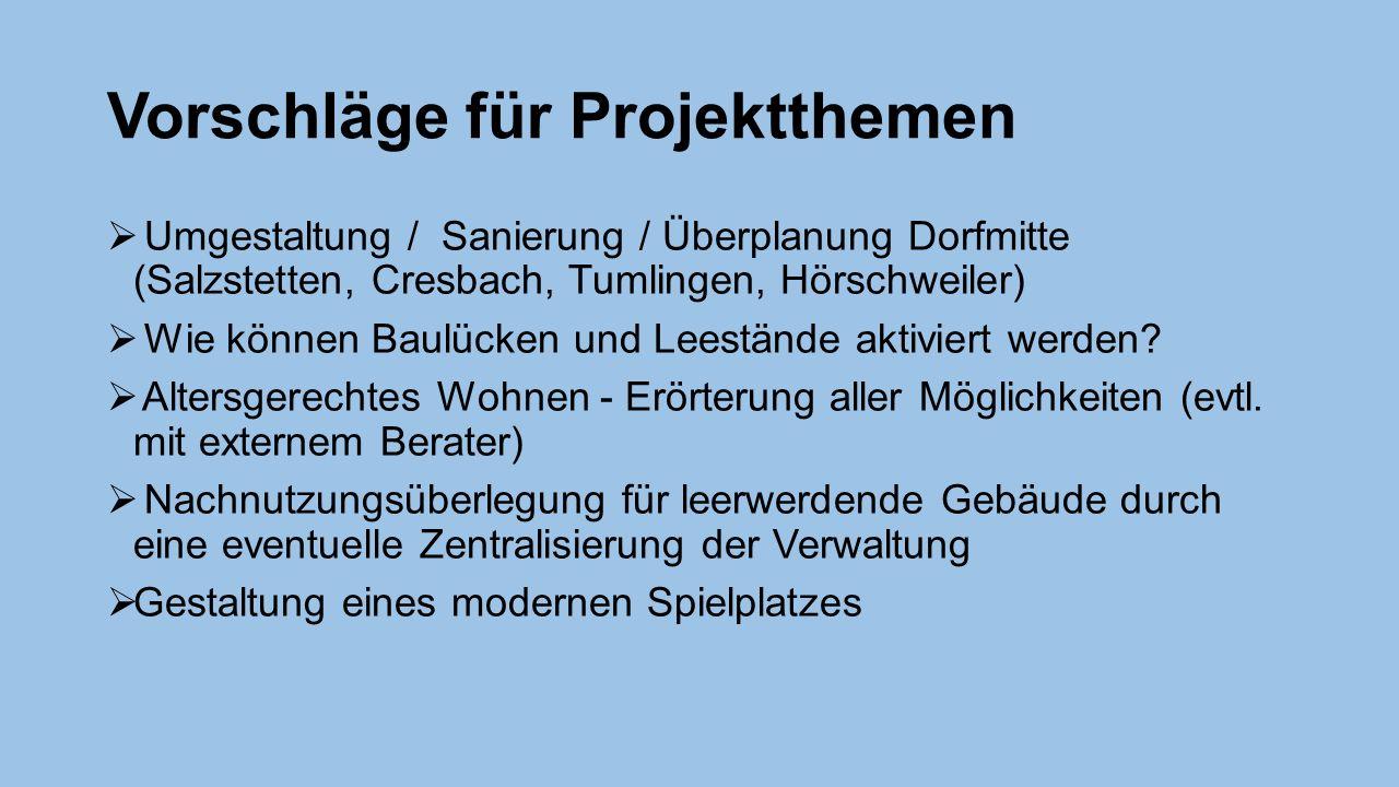 Vorschläge für Projektthemen  Umgestaltung / Sanierung / Überplanung Dorfmitte (Salzstetten, Cresbach, Tumlingen, Hörschweiler)  Wie können Baulücken und Leestände aktiviert werden.