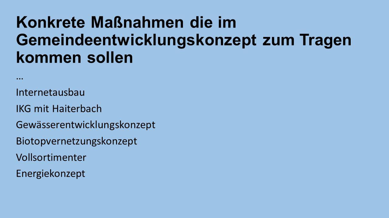 Konkrete Maßnahmen die im Gemeindeentwicklungskonzept zum Tragen kommen sollen … Internetausbau IKG mit Haiterbach Gewässerentwicklungskonzept Biotopvernetzungskonzept Vollsortimenter Energiekonzept