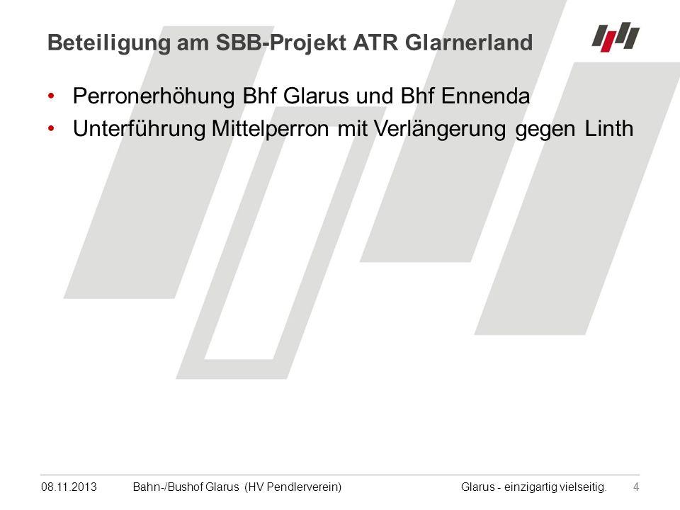 08.11.201315 Bahn-/Bushof Glarus (HV Pendlerverein) Glarus - einzigartig vielseitig.