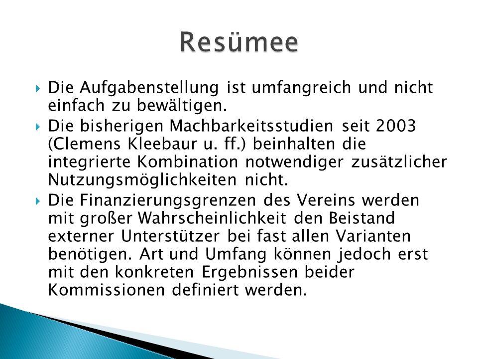  Die Aufgabenstellung ist umfangreich und nicht einfach zu bewältigen.  Die bisherigen Machbarkeitsstudien seit 2003 (Clemens Kleebaur u. ff.) beinh