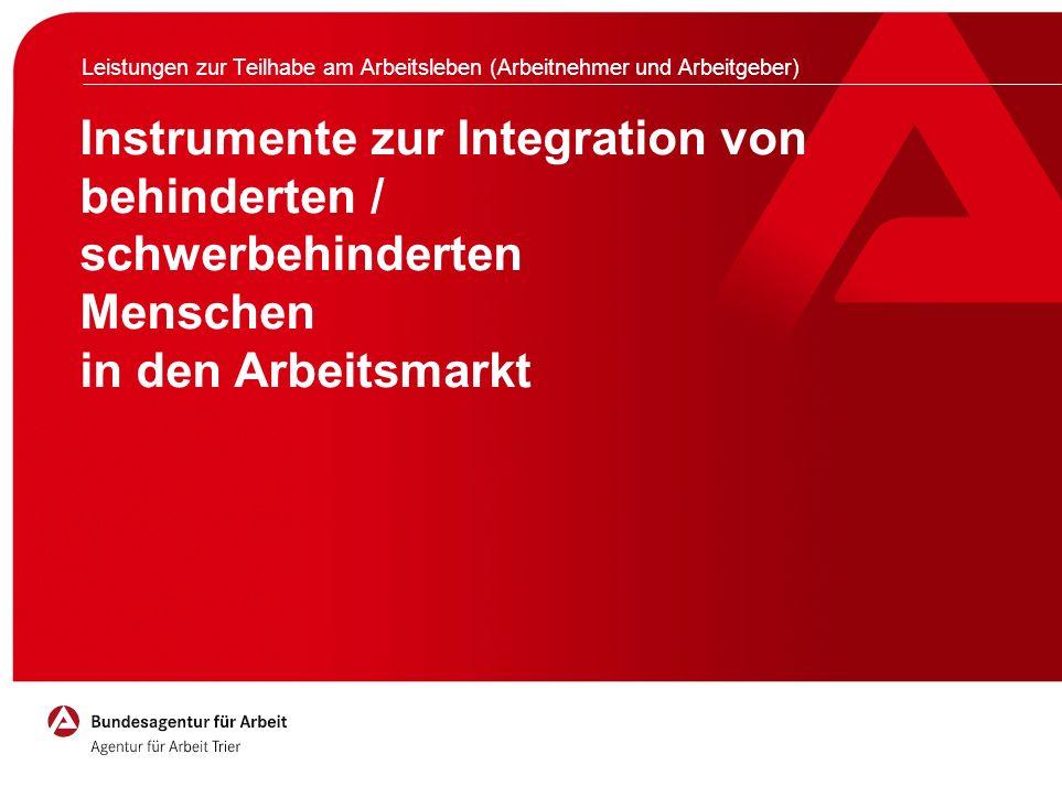 Instrumente zur Integration von behinderten / schwerbehinderten Menschen in den Arbeitsmarkt Leistungen zur Teilhabe am Arbeitsleben (Arbeitnehmer und Arbeitgeber)