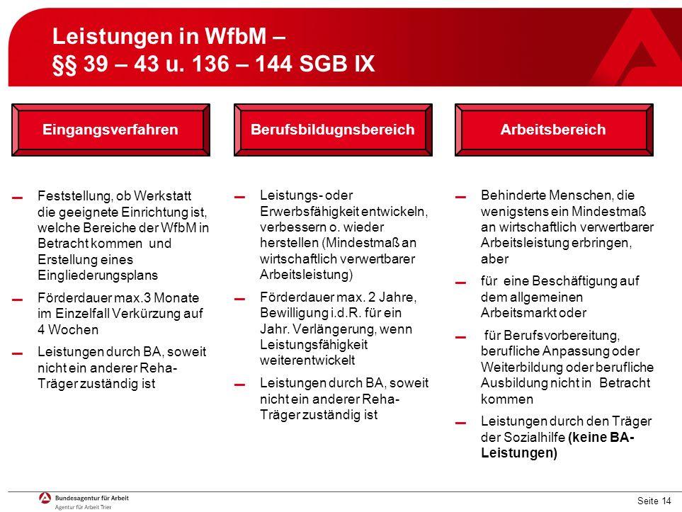 Seite 14 Leistungen in WfbM – §§ 39 – 43 u.