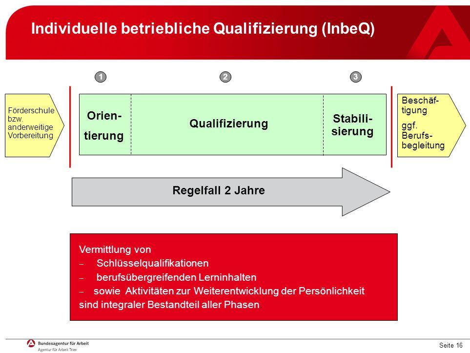 Seite 16 Qualifizierung Vermittlung von  Schlüsselqualifikationen  berufsübergreifenden Lerninhalten  sowie Aktivitäten zur Weiterentwicklung der Persönlichkeit sind integraler Bestandteil aller Phasen.