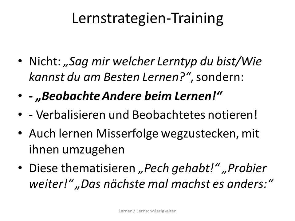 """Lernstrategien-Training Nicht: """"Sag mir welcher Lerntyp du bist/Wie kannst du am Besten Lernen? , sondern: - """"Beobachte Andere beim Lernen! - Verbalisieren und Beobachtetes notieren."""