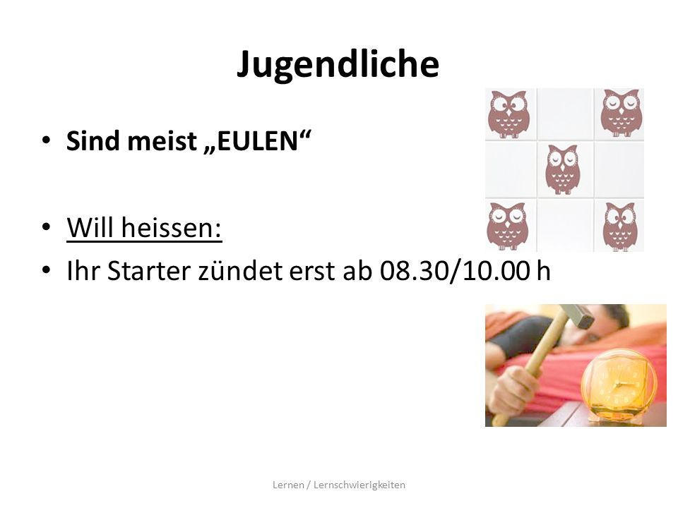 """Jugendliche Sind meist """"EULEN Will heissen: Ihr Starter zündet erst ab 08.30/10.00 h Lernen / Lernschwierigkeiten"""