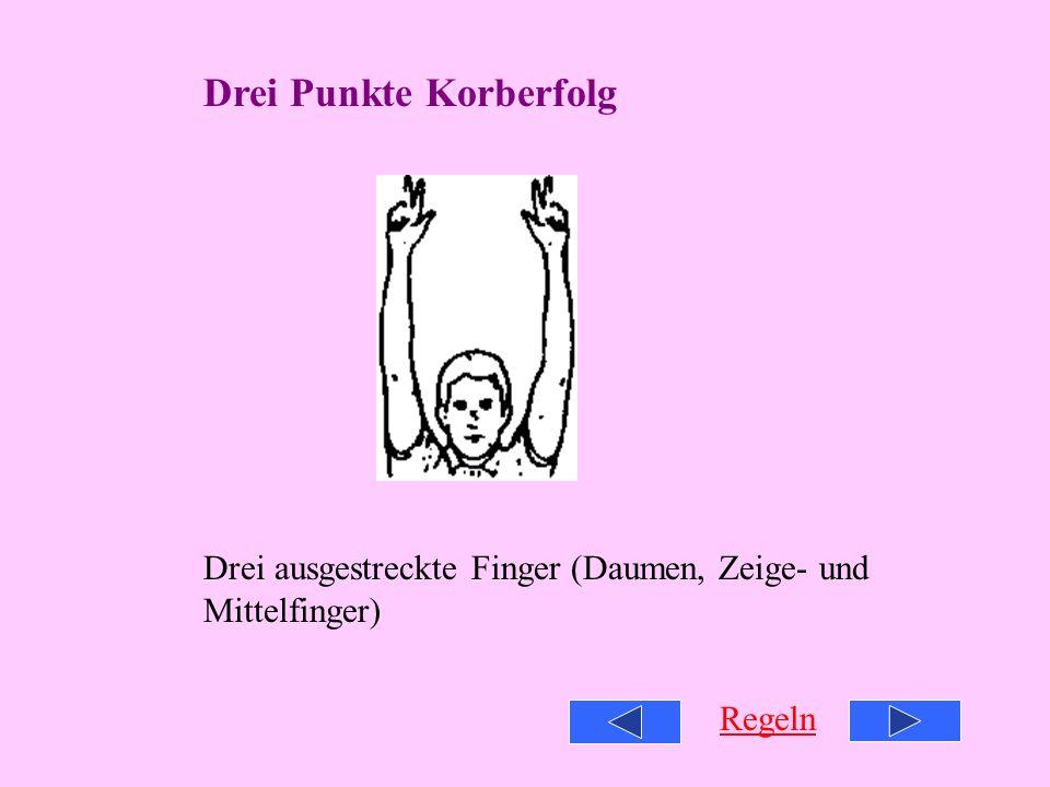 Drei Punkte Korberfolg Drei ausgestreckte Finger (Daumen, Zeige- und Mittelfinger) Regeln