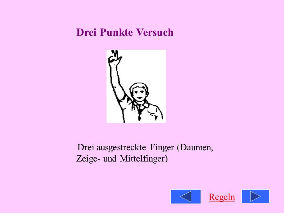 Drei Punkte Versuch Drei ausgestreckte Finger (Daumen, Zeige- und Mittelfinger) Regeln