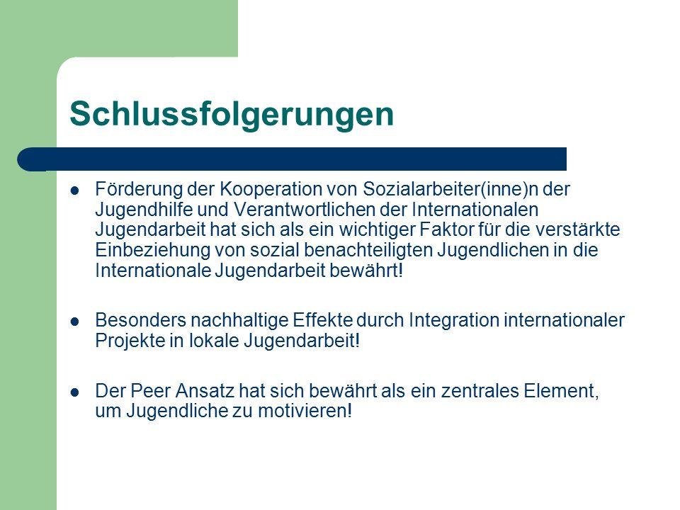 Schlussfolgerungen Förderung der Kooperation von Sozialarbeiter(inne)n der Jugendhilfe und Verantwortlichen der Internationalen Jugendarbeit hat sich als ein wichtiger Faktor für die verstärkte Einbeziehung von sozial benachteiligten Jugendlichen in die Internationale Jugendarbeit bewährt.