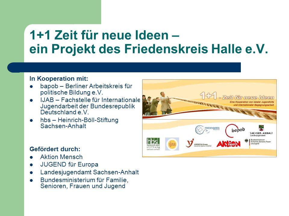 1+1 Zeit für neue Ideen – ein Projekt des Friedenskreis Halle e.V. In Kooperation mit: bapob – Berliner Arbeitskreis für politische Bildung e.V. IJAB