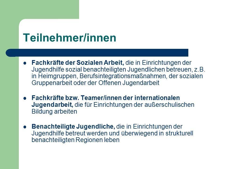 Teilnehmer/innen Fachkräfte der Sozialen Arbeit, die in Einrichtungen der Jugendhilfe sozial benachteiligten Jugendlichen betreuen, z.B.
