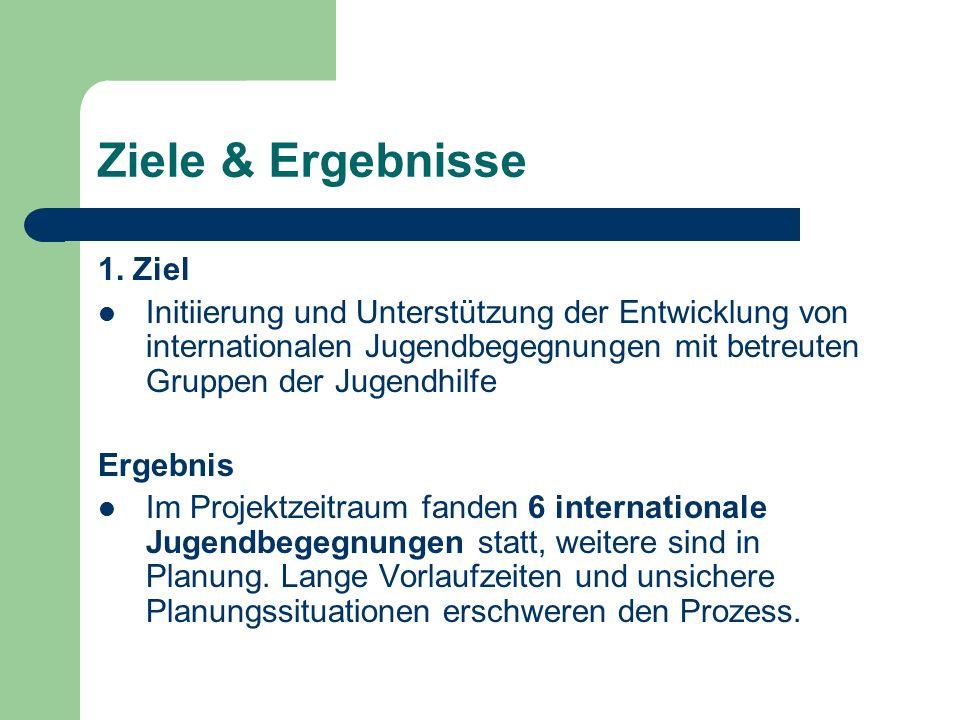 Ziele & Ergebnisse 1. Ziel Initiierung und Unterstützung der Entwicklung von internationalen Jugendbegegnungen mit betreuten Gruppen der Jugendhilfe E