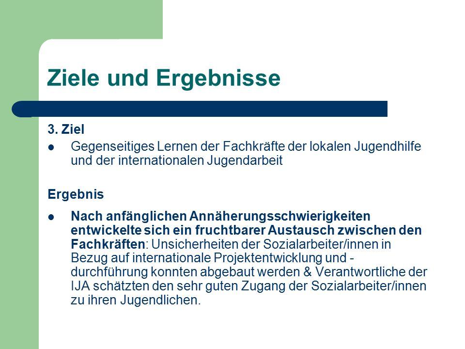 Ziele und Ergebnisse 3. Ziel Gegenseitiges Lernen der Fachkräfte der lokalen Jugendhilfe und der internationalen Jugendarbeit Ergebnis Nach anfänglich