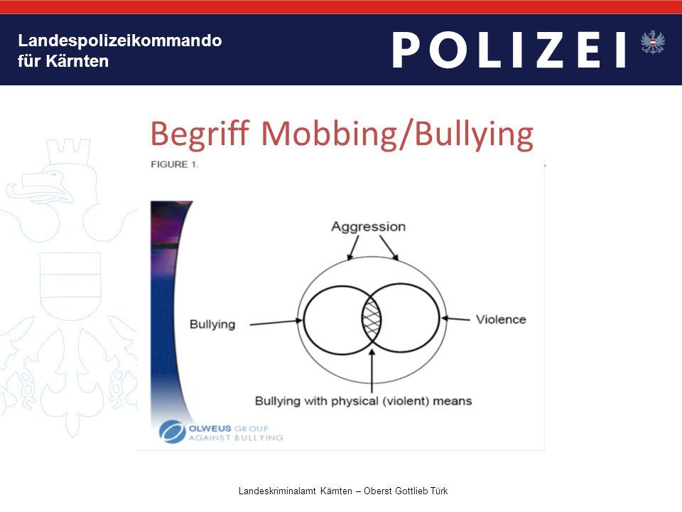 """Landespolizeikommando für Kärnten Begriff Mobbing/Bullying GEWALT DURCH """"NEUE MEDIEN Landeskriminalamt Kärnten – Oberst Gottlieb Türk"""